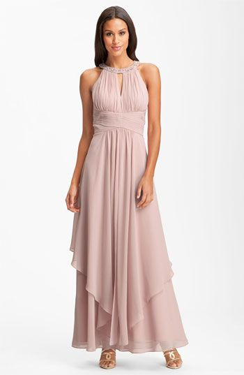 6043b43f1bf5 Eliza J Embellished Tiered Chiffon Halter Gown | Nordstrom | Dressy ...