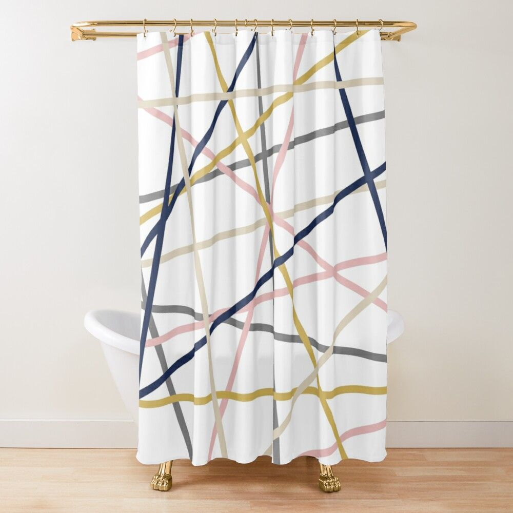 Converging Lines Minimalist Pattern In Mustard Yellow Navy Blue