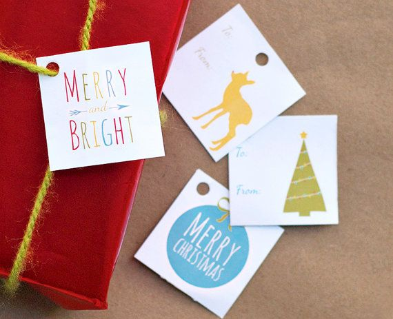 Printable Holiday gift tags  Merry and Bright by AMomentRemembered