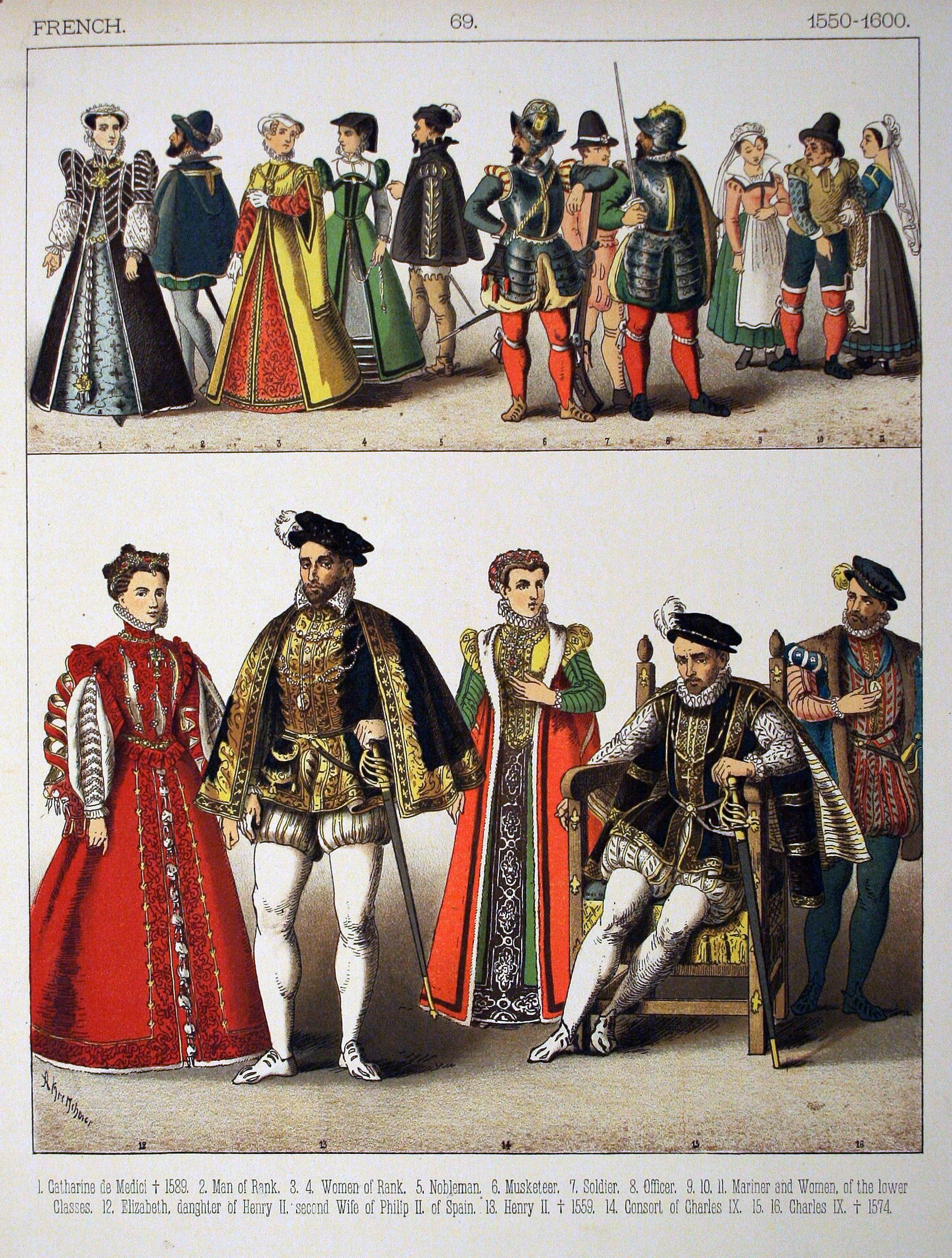 photos of the 1600s | Description 1550-1600, French. - 069 - Costumes of  All Nations (1882 .