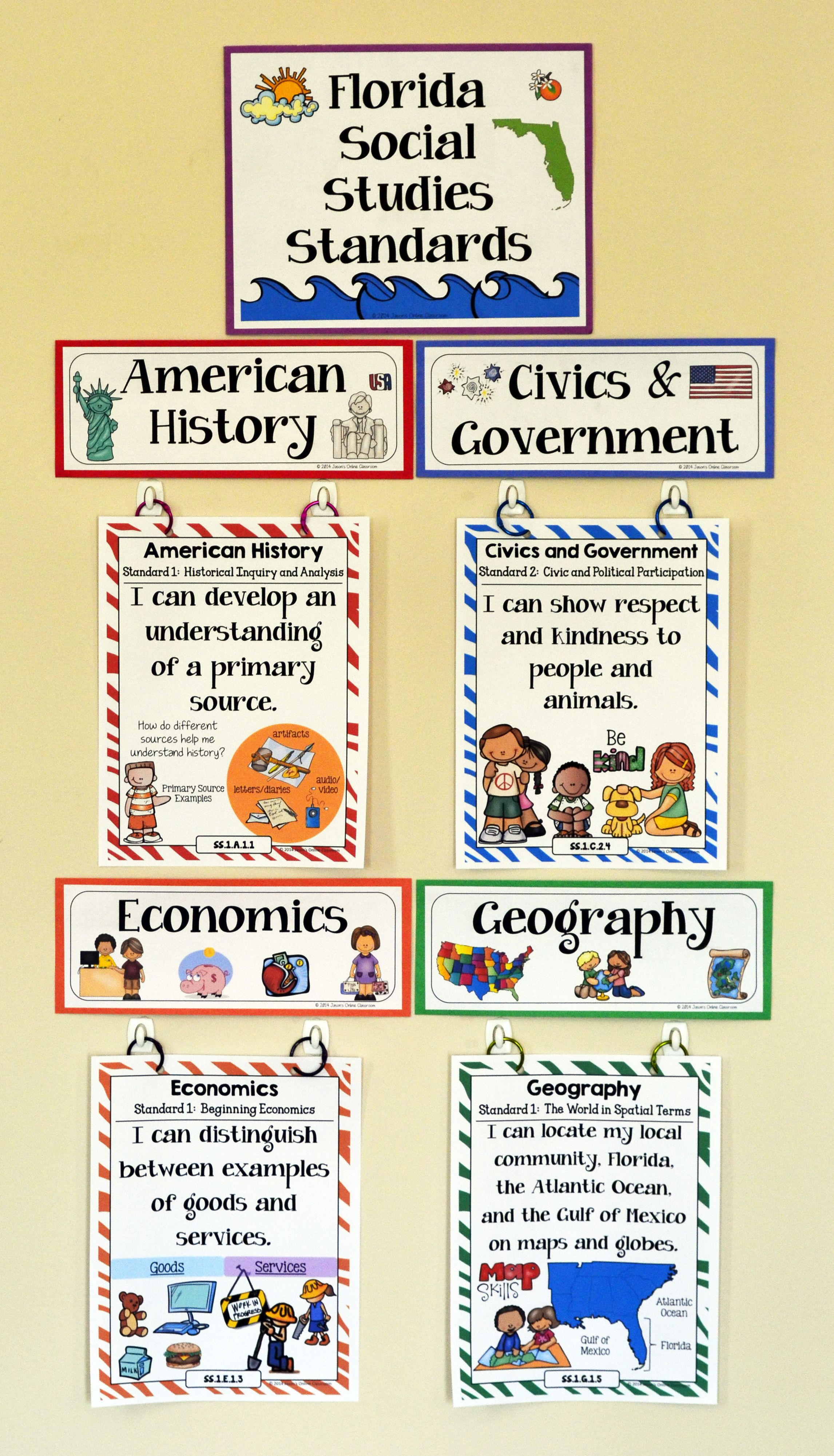 1st Grade Florida Social Stu S Standards I Can Statements Full Page Size Mini Size