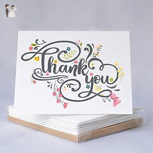 Floral Thank You Note Cards - Thank You - QTY 20 - Wedding Thank You