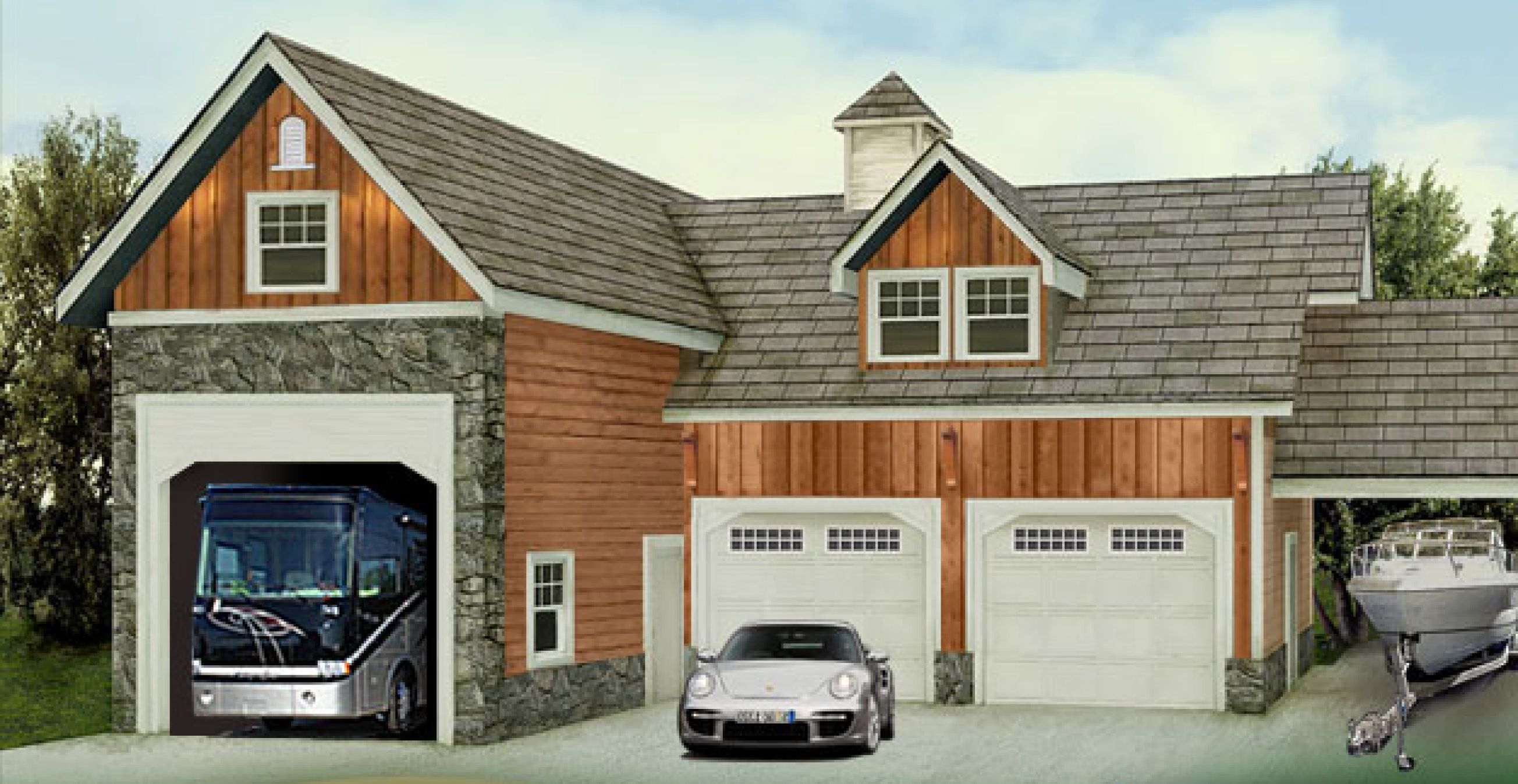 Rv garage i 39 d convert the two smaller garages into a for Small home plans with garage