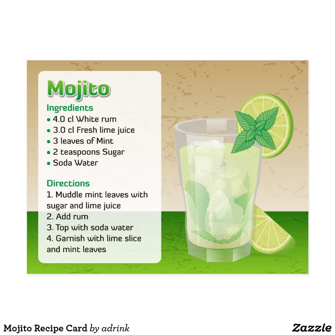 Mojito Recipe Card Zazzle Com Mojito Recipe Mojito Mojito Ingredients