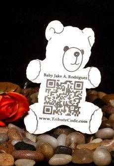 Tribute Code Plaque- Teddy Bear. Place at resting site or memorial of loved one. Scan QR Code and be directed to the online memorial page for your departed loved ones that include photos, videos, music, bio and much more.   www.tributecode.com