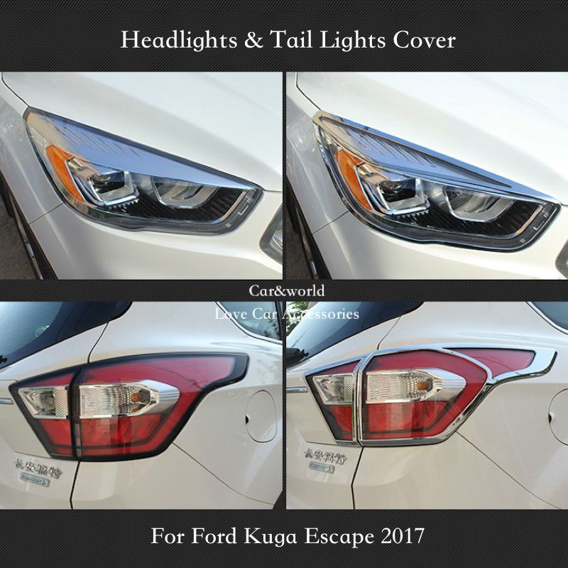 For Ford Kuga Escape 2017 Headlights Cover Front Rear Lights Tail Lamp Decoration Abs Chrome Car Covers Accessories