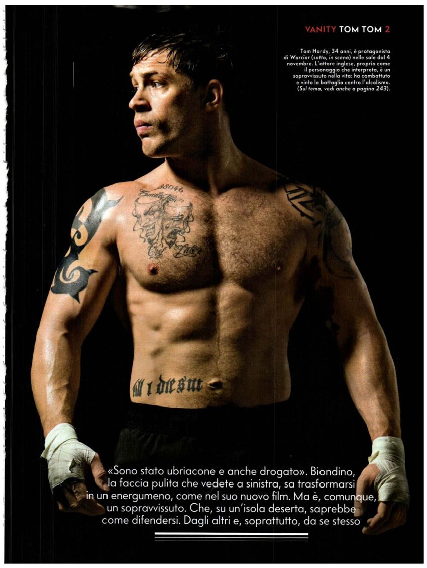 Tom Hardy picture from Men of Warrior movie showing tattoo