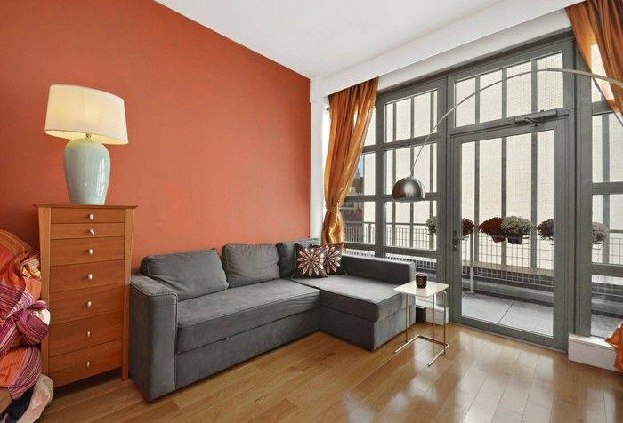Innendesign Grey Corner Sofa Orange Accent Wall Living Room Wall