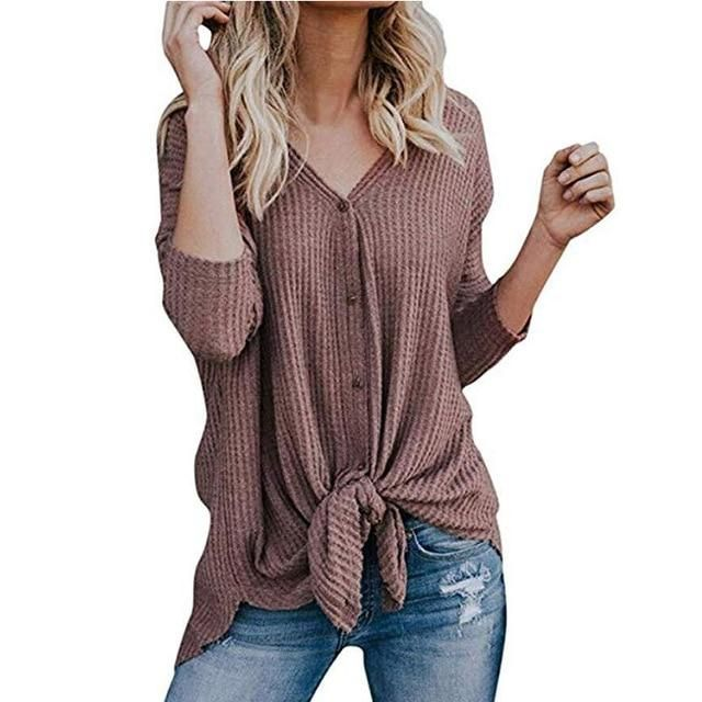 Long Sleeve Shirts for Women,Womens V Neck Waffle Knit Henley Tops Casual Long Sleeve Pullover Sweater Blouses