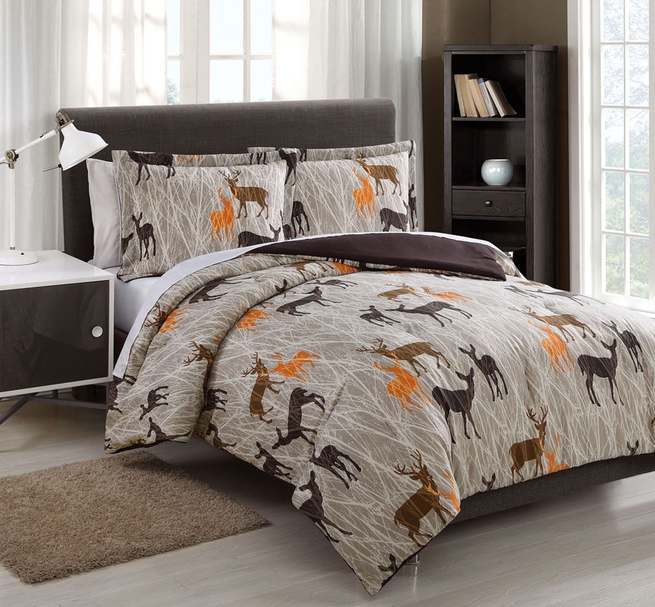 Microfiber Kids Deer Camo Tan/Chocolate Reversible Comforter ...