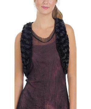 Black Faux Fur Crop Vest $16.99 by Zulily