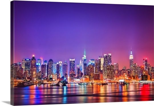 Midtown Manhattan At Night And Reflections In 2021 New York City Background City Wallpaper Nyc Skyline