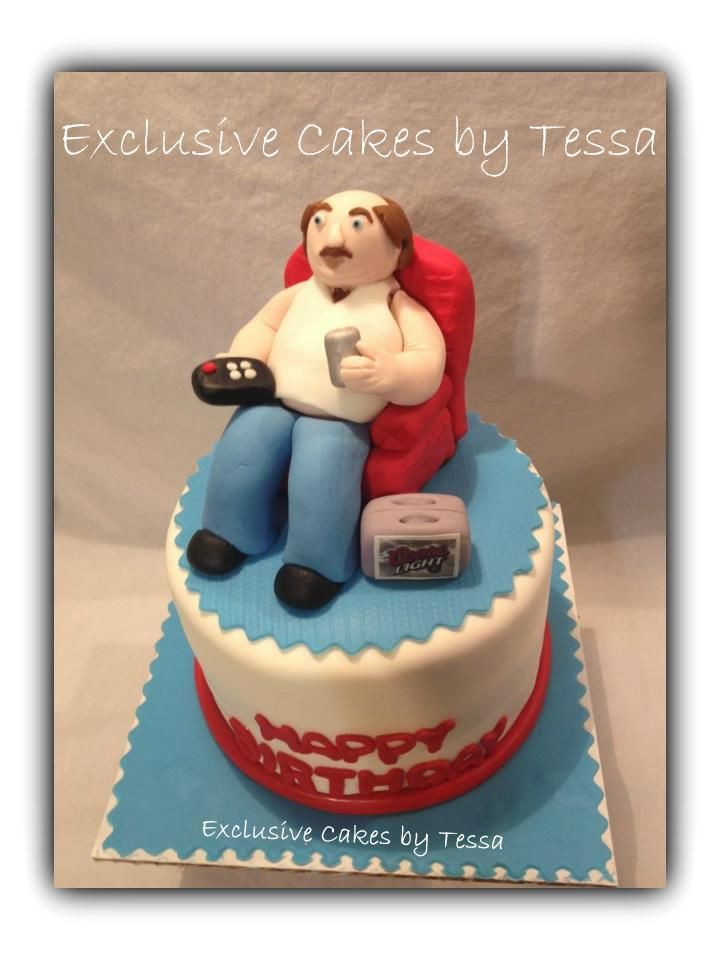 Coors Light and Chillin' Cake - All Edible! by Exclusive Cakes by Tessa Fondant man sitting in ...