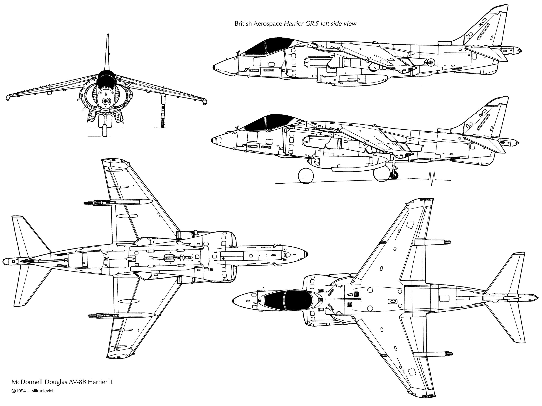 Mcdonnell Douglas Av 8b Harrier Ii Blueprint