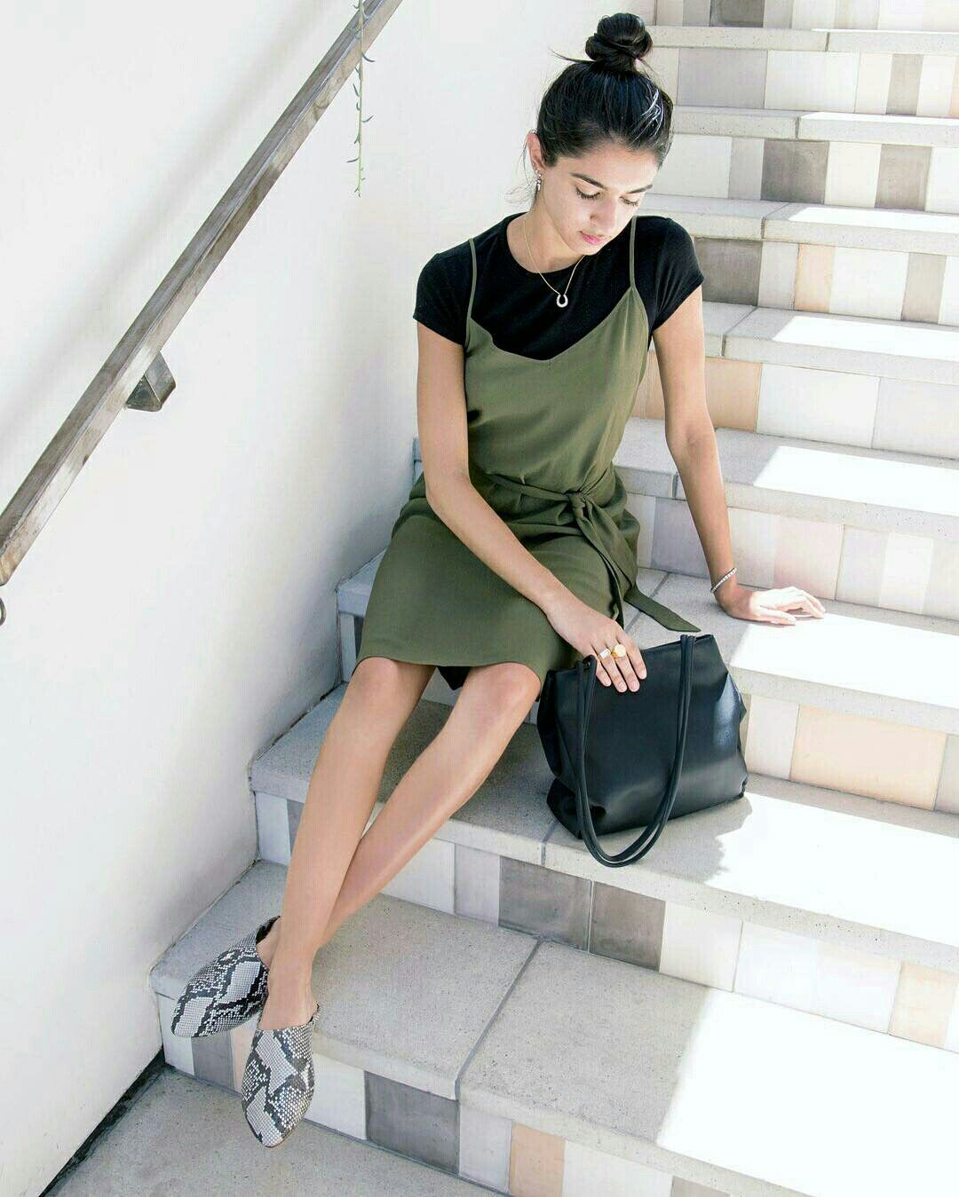 Whowhatwear Slip Dress Street Style Spring Summer Capsule Wardrobe Dress With Sneakers [ 1349 x 1080 Pixel ]