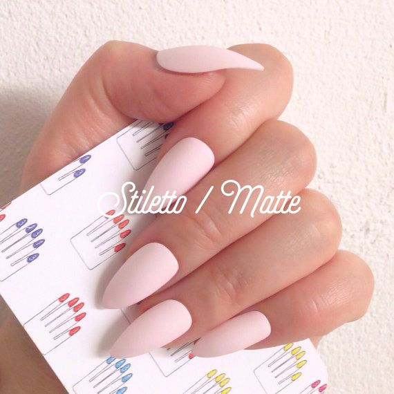 Stiletto 12pcs Matte Baby Pink Hand Painted Nail Tips / by 31313 ...