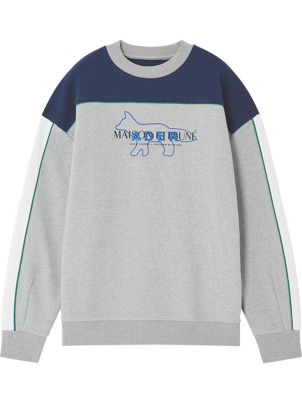 Maison Kitsune X Ader Error Logo Embroidered Sweatshirt Grey Embroidered Sweatshirts Sweatshirts Grey Sweatshirt [ 1334 x 1000 Pixel ]