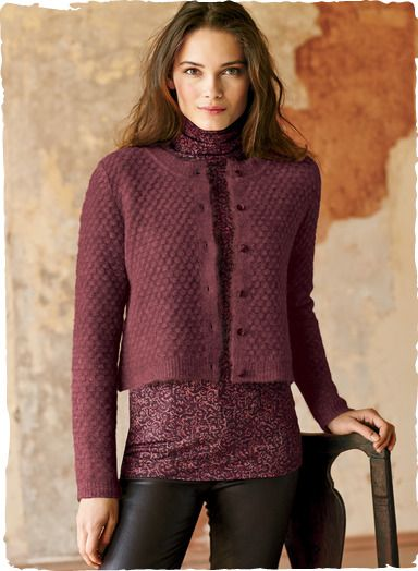 0ad3d6b984e3 Tiny popcorn stitches give our cropped cardigan its delightful loft ...
