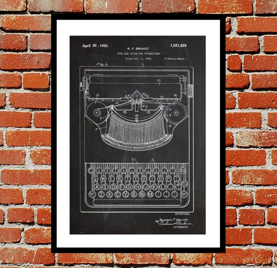 Typewriter Patent, Typewriter Poster, Typewriter Blueprint,  Typewriter Print, Typewriter Art, Typewriter Decor