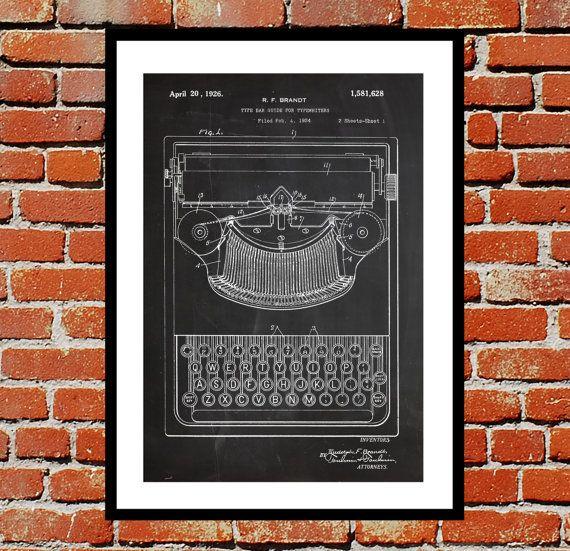 Typewriter Patent, Typewriter Poster, Typewriter Blueprint,  Typewriter Print, Typewriter Art, Typewriter Decor