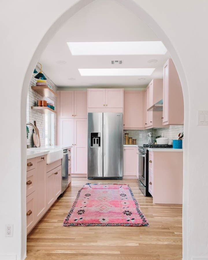 Kelly Mindell's kitchen renovation, pink blush colored LA