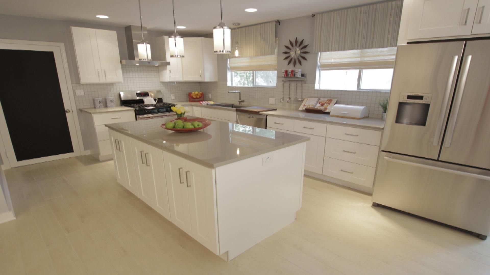 White kitchen with light grey countertops light colored for Kitchen ideas light grey