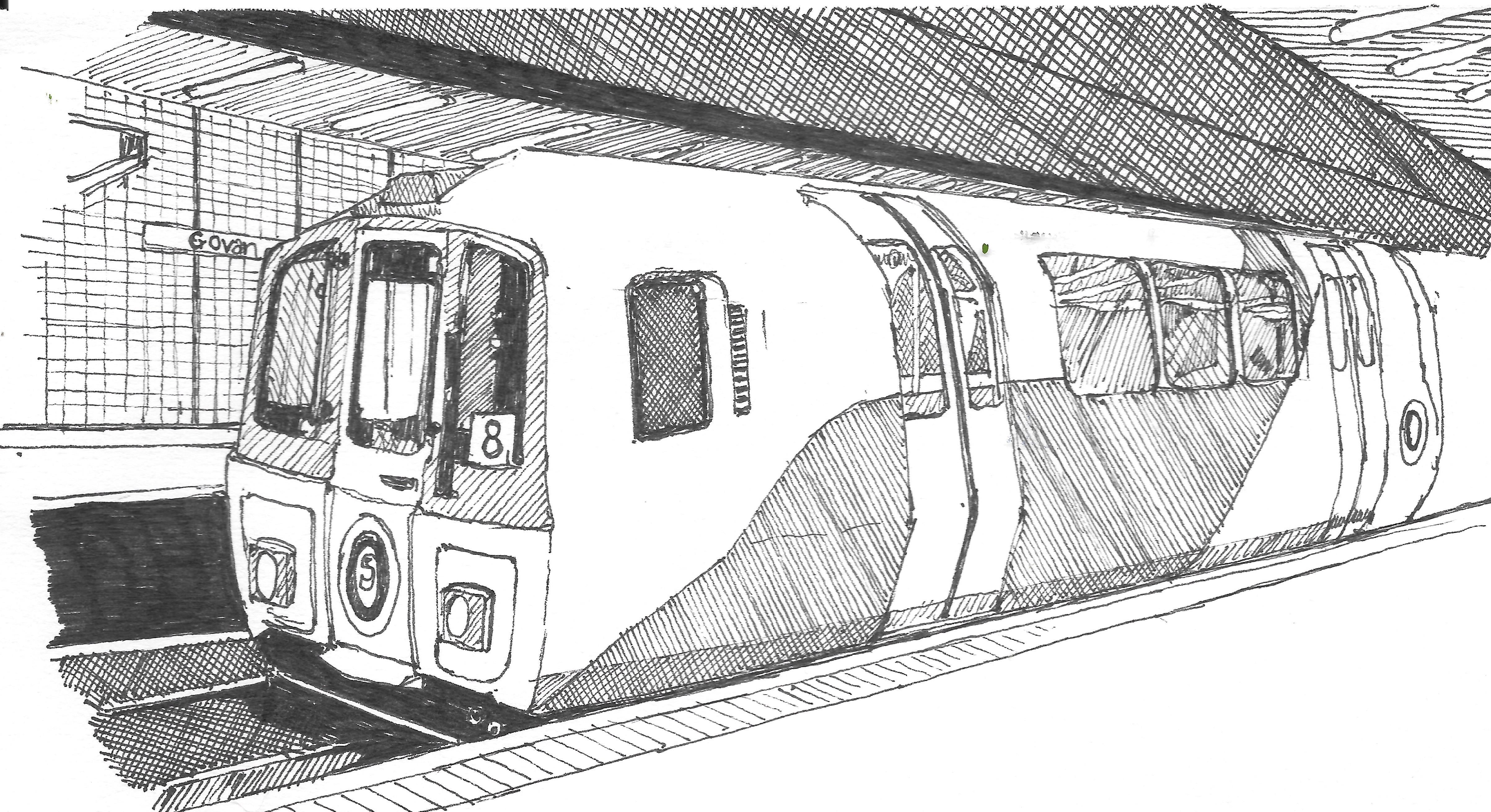 Glasgow Subway Sketched In 0 3mm And 0 7mm Ink Pen Train Sketch Train Drawing Glasgow Subway