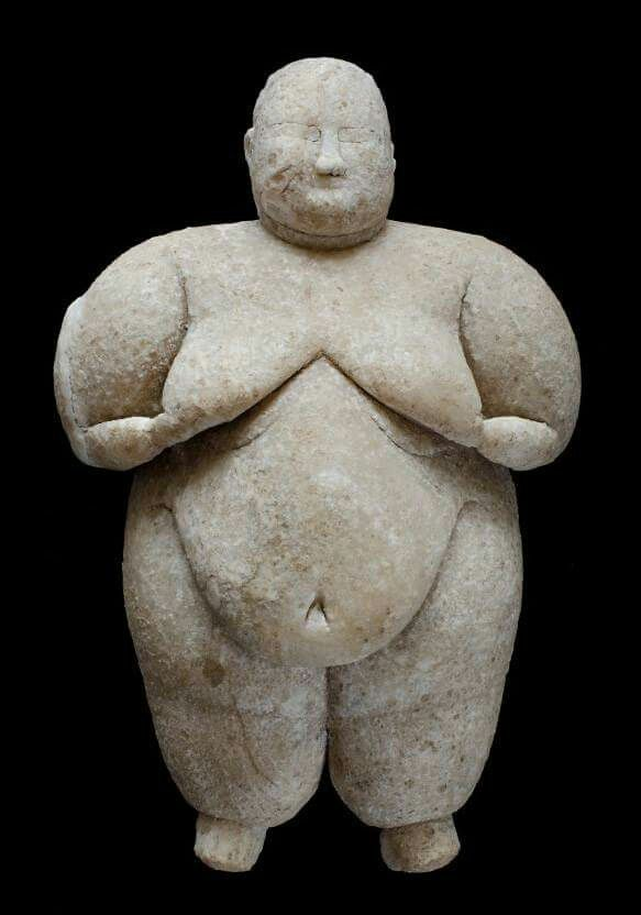 Rare, Neolithic 'Goddess' 8,000-year-old statuette discovered in Çatalhöyük, Turkey,  depicting a plump woman with her hair tied in a bun, sagging breasts and a pronounced belly. The fatness of this goddess statue could represent high status rather than an elevated place in a society of equals.