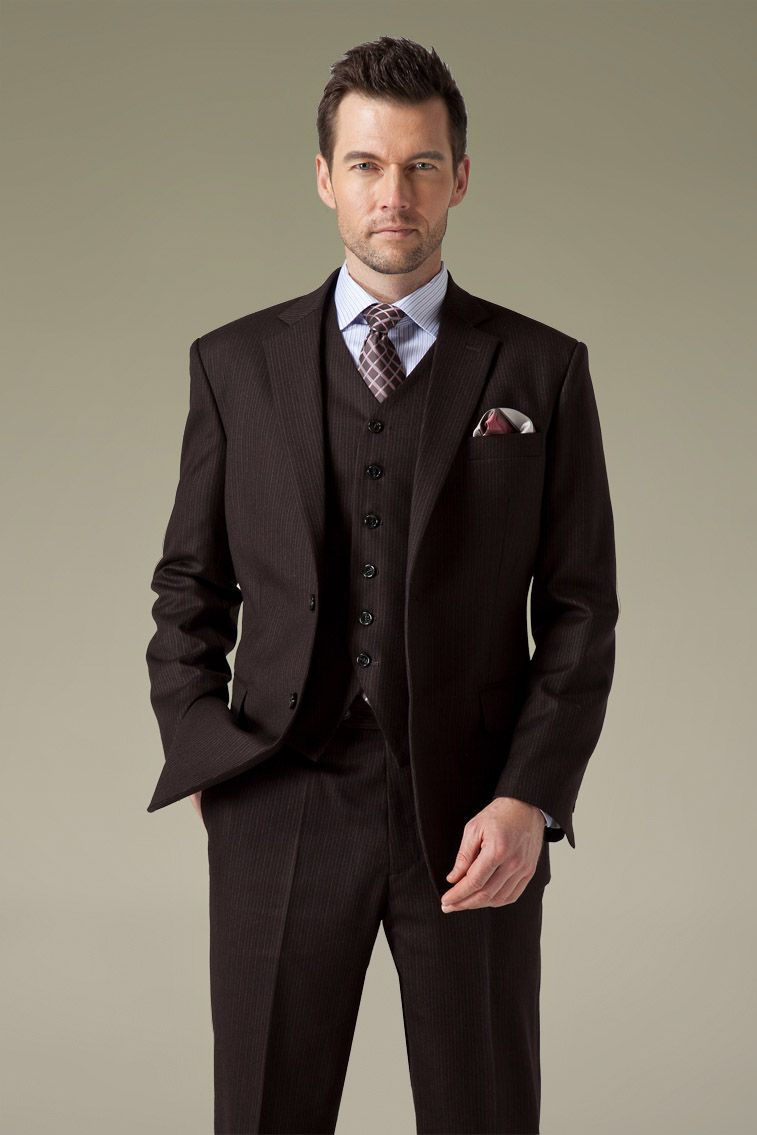 Grey pinstripe suit and men\92s brown pinstripe suit then this pinstripe suit would act great for you. If you are going to wear suits for the first time it is always good to consult some expert professionals like our staff who can help you determine which suits goes best with you.
