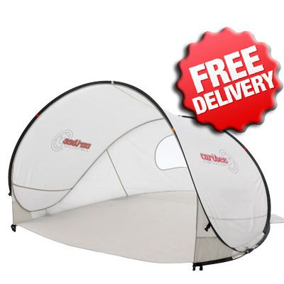 Caribee Beach Tent UV50+ Sun Shelter Pop Up Shade available at C&ing Central - Free Shipping  sc 1 st  Pinterest & Caribee Pop Up Beach Tent Sun Shade UV Shelter (Latte) | Beach ...
