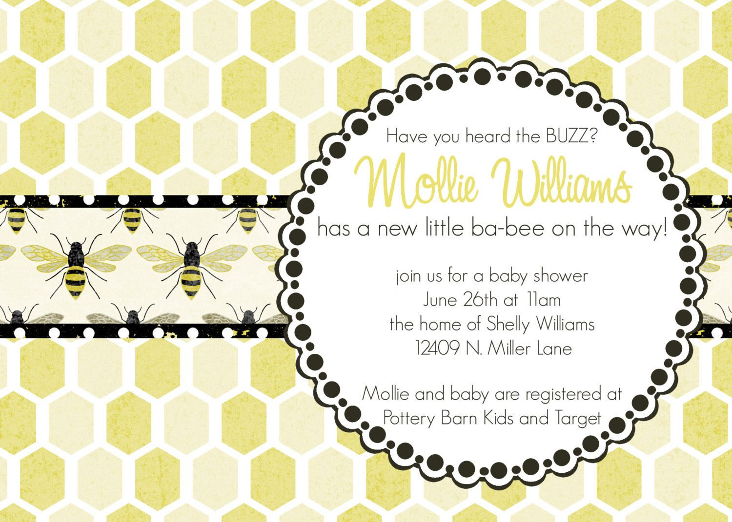 Pink Bumble Baby Shower Invitations | Die Cut Invitations ...