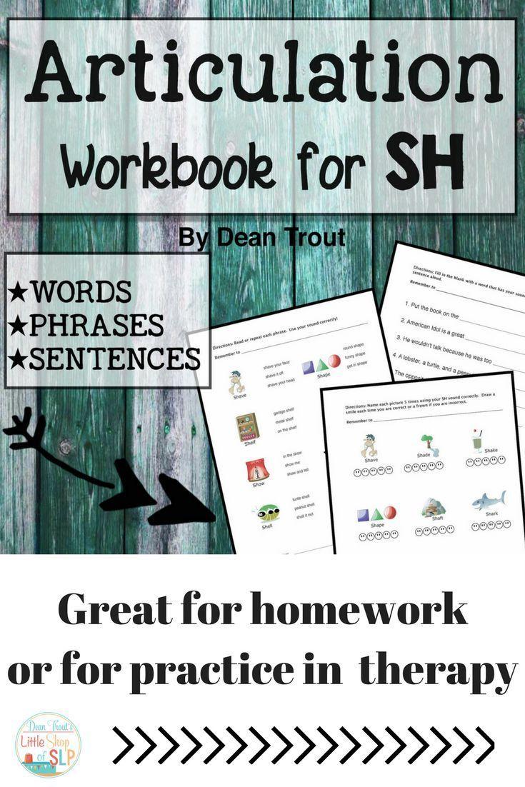 Workbooks speech therapy workbooks : Articulation Workbook for the SH Sound Just Print | Homework ...