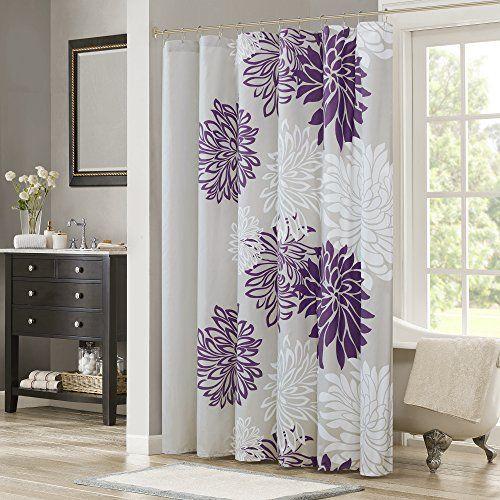 Comfort Spaces U2013 Enya Shower Curtain U2013 Purple, Grey U2013 Flo... Https  Purple And Grey Shower Curtain