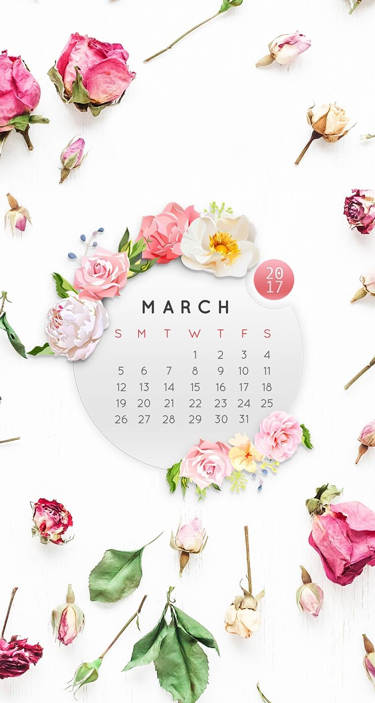 Wallpaper iPhone/calendar March 2017/pink roses/beauty 💝