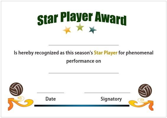 Volleyball star player award certificate volleyball certificates volleyball star player award certificate yadclub Gallery