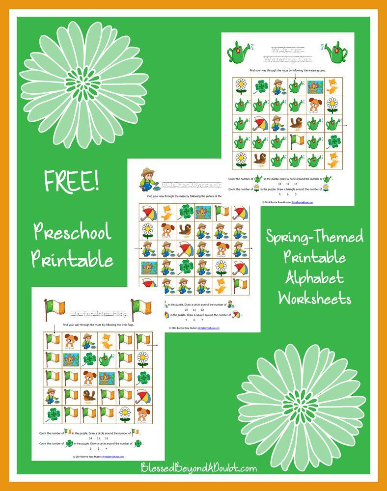 FREE Spring-Themed Printable Alphabet Worksheets for Preschool ...