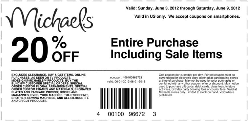 20 Off Purchase At Michael S Coupon Printable Coupons Free Printable Coupons Michaels Coupon