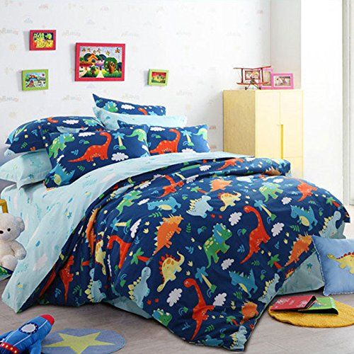 [Canony Bed DIY Ideas] LELVA Cartoon Bedding Set Cotton Dinosaurs Bedding  Duvet Cover Set Kids Bedding For Boys Blue (Queen, Fitted Sheet) *** You  Can Get ...