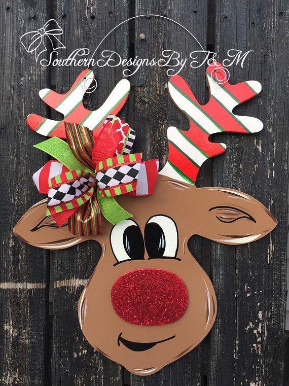 Rudolph door hanger, Christmas door hanger, wooden door ...