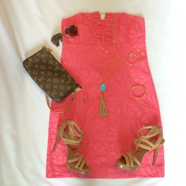 Great colors for a Spring or Summer party.  Coral dress with turquoise and gold accessories.  Smaller handbags or clutches are always nice in these situations.