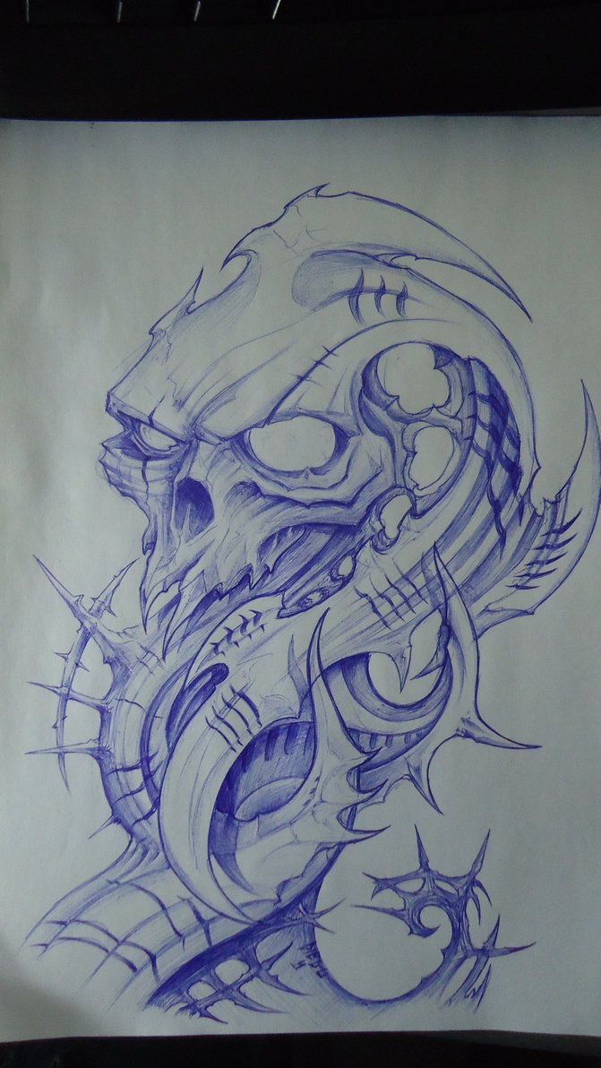 biomech skull design by DiegoCT92 … | Biomechanical tattoo ...