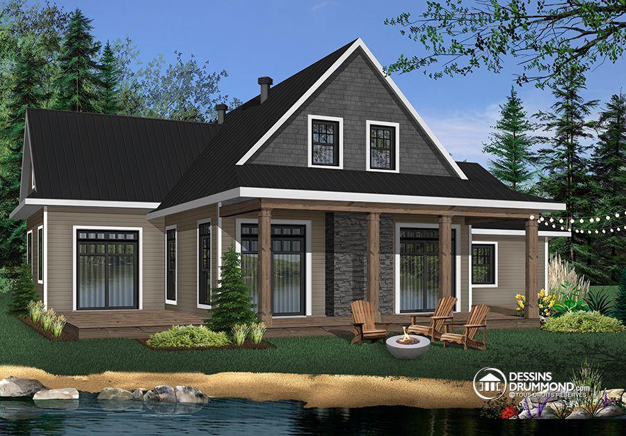 Détail du plan de Maison unifamiliale W3914-V5 archi Pinterest