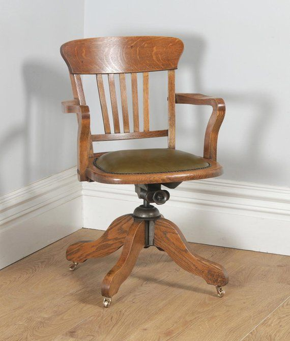 revolving chair for kitchen staples big and tall ergonomic antique english edwardian oak green leather office desk arm circa 1910