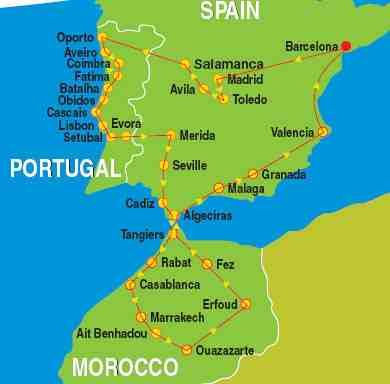 Detailed Map Of Spain Portugal And Morocco.Map Of Spain Portugal Morocco Spain Spain Morocco Itinerary