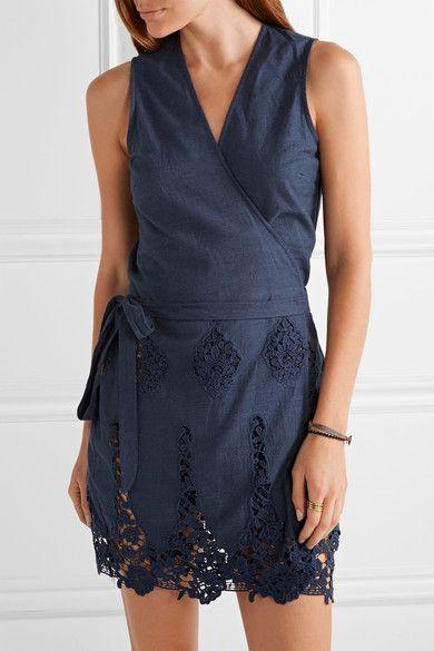 MIGUELINA Alina crochet-trimmed cotton wrap mini dress | net-a-porter