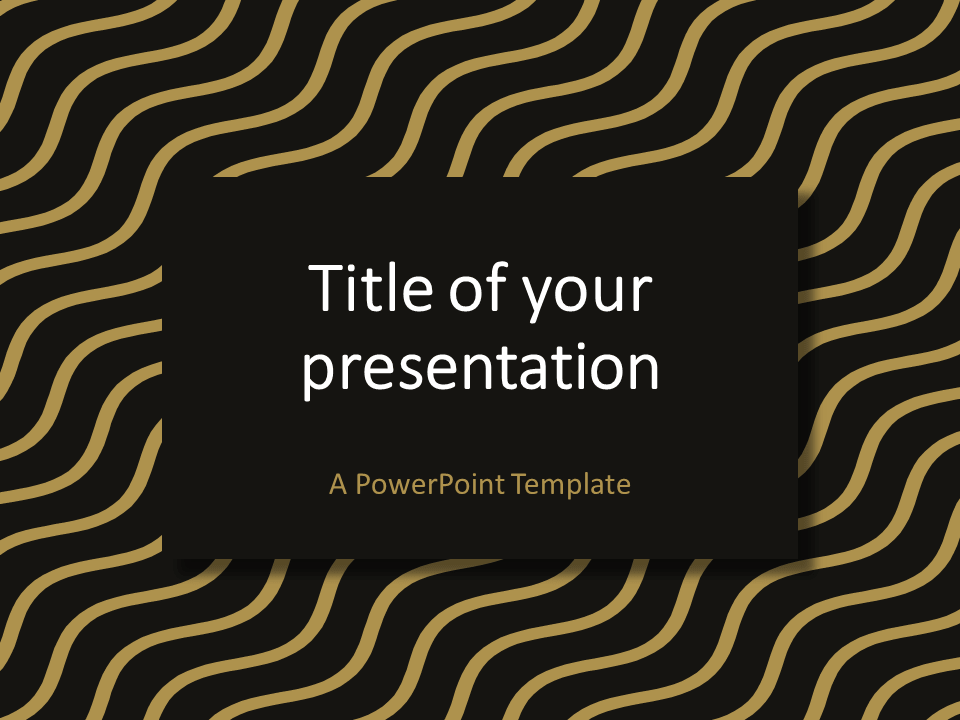 Brown Gold Wavy Pattern Powerpoint Template  Abstract Powerpoint