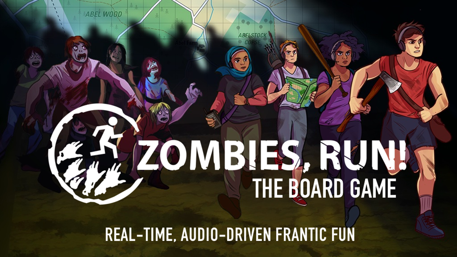 Escape zombies. Find allies. Save humanity. Prepare for frantic,  real-time, audio-driven fun for 2-4 players!