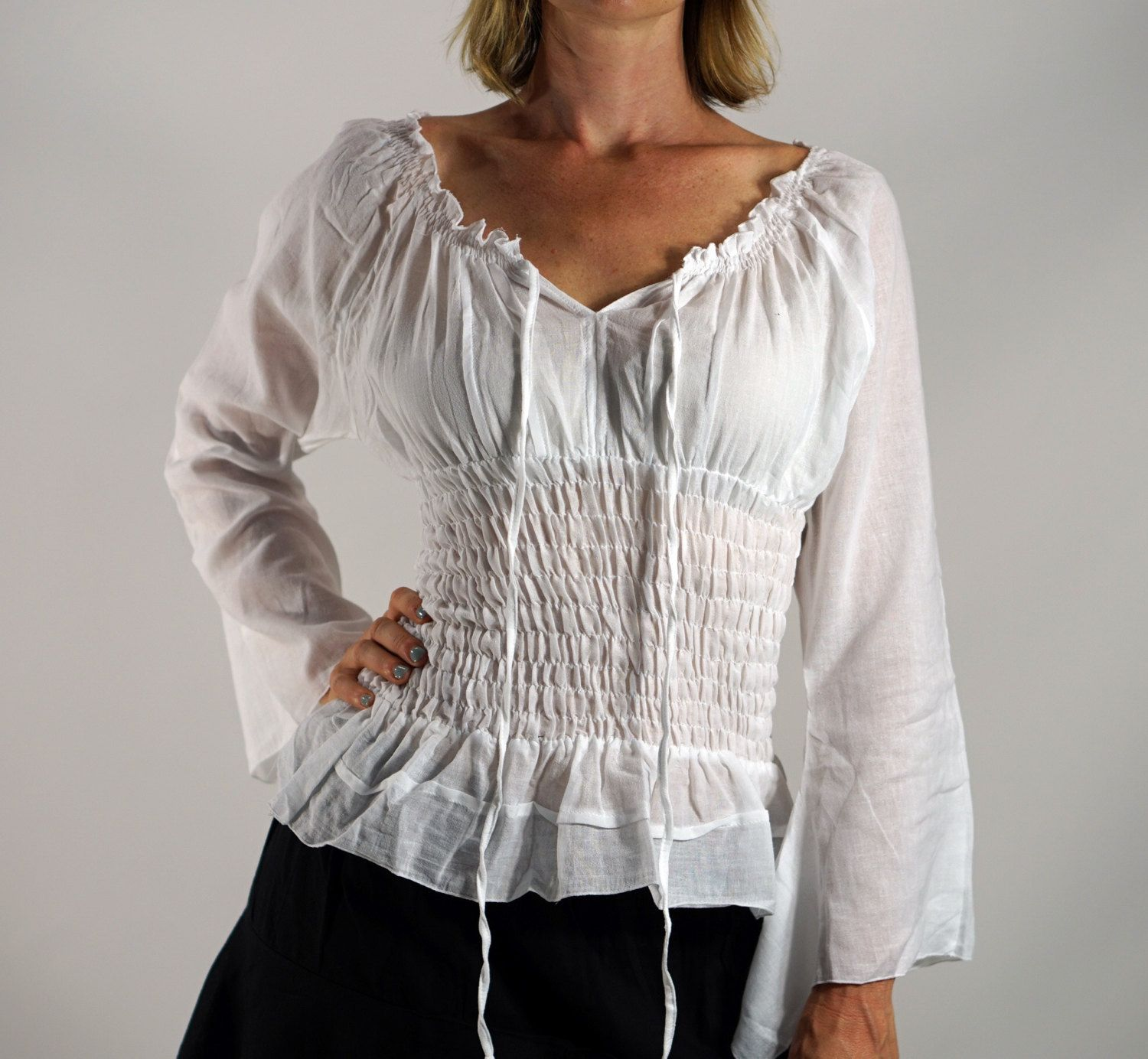 LS PEASANT Blouse - Zootzu Pirate Renaissance Festival Costume Chemise Gypsy Top Pirate Steampunk Shirt Corset Long Sleeves Top WHITE by zootzugarb on Etsy https://www.etsy.com/listing/248360447/ls-peasant-blouse-zootzu-pirate