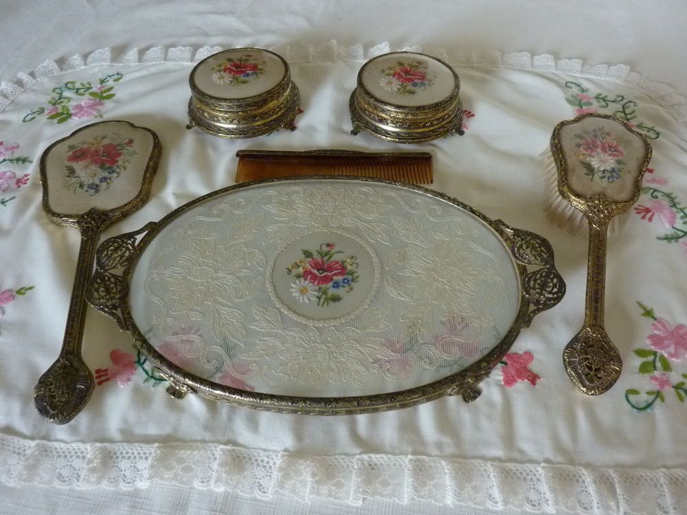 Superb Vintage Ormolu Petit Point Delina Dressing Table Vanity Set 6 Pieces  Poppies | EBay