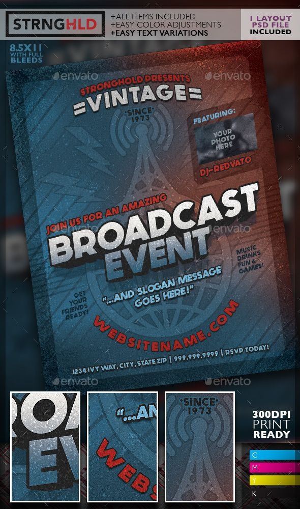 Vintage Radio Broadcast Event Flyer Template  Event Flyer